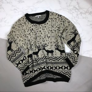 Oversized High Low Winter Theme Sweater